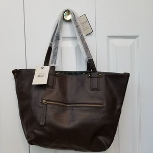 Bass Reversible Faux Leather Tote Back Brown Green